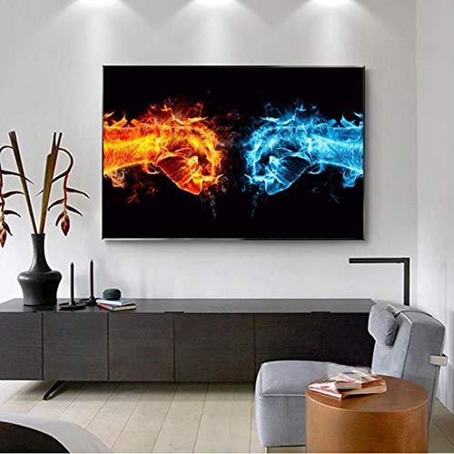 MNNPY Cartel Hielo y Fuego Imágenes de la Mano Dedos Lienzo Pintura Arte de la Pared Imagen para Sala de Estar Cartel Pintura Decorativa 24X31 Inch (60X80cm)