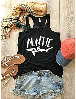 Auntie Shark Tank. Shark Theme Shirt. Shark Inspired Tank. Shark Party Inspired Tank. Women's Eco Flowy Tanks. Women Clothing. Holiday Gift Tank. Sheering Back Seam.