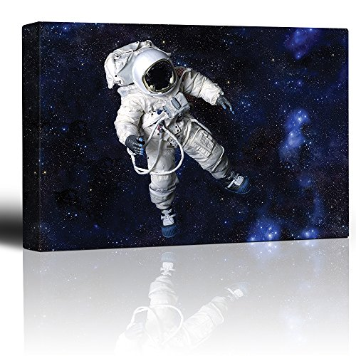 wall26 - Fully Equipped Astronaut Floating in a Blue Starry Galaxy - Canvas...