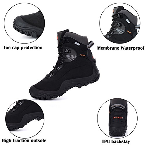 XPETI Men's Thermator Mid-Rise Lightweight Hiking Insulated Non-Slip Outdoor Boots