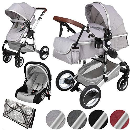 ib style® SOLE 3 in 1 Kombi Kinderwagen | inkl. Auto Babyschale | Zusammenklappbar | inkl. Regen- & Mückenschutz | 0-15kg |Hellgrau/Gestell: Silber
