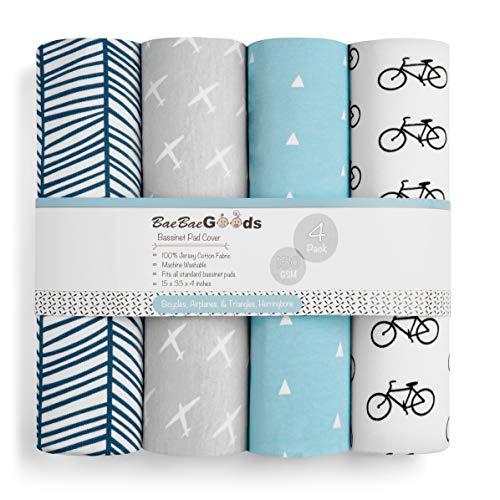 BaeBae Goods Lot de 3 draps-housses pour matelas de bassinet/coussinets en jersey super doux en coton tricoté 106 x 150 g/m² Collection « Bicyclette » par BaeBae Goods