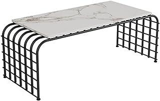 CJDM Table Basse en marbre, Table Basse d'art en Fer dans Le Salon, Taille de la Table Basse : 100 * 50 * 45cm/120 * 50 * ...
