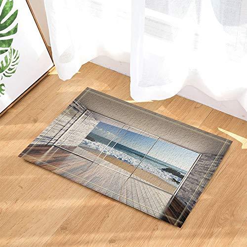 JHTRSJYTJ Gemauerte Lounge mit Holztüren, Erkerfenster mit Meerblick HD-Bedruckte rutschfeste Badezimmer-Fußmatte,Innen-Fußmatte,50×80cm waschbar,unerlässlich für Familien