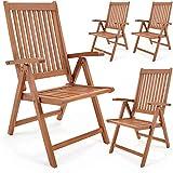 Set de 4 chaises pliantes Vanamo en bois d'eucalyptus chaise de jardin fauteuil de jardin pliable