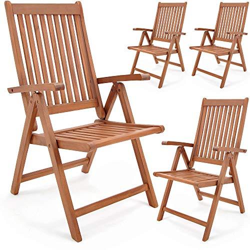 Deuba Set de 4 chaises Pliantes Vanamo en Bois d'eucalyptus Chaise de Jardin Fauteuil de Jardin Pliable