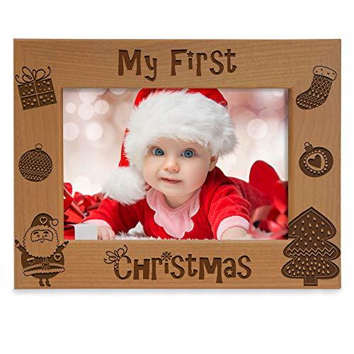 "KATE POSH Bilderrahmen mit Gravur ""My 1st Christmas"", ""My First Baby's 1st Christmas"", ""New Baby, Santa & Me"", Naturholz-Bilderrahmen (12,7 x 17,8 cm, Querformat, Vintage)"
