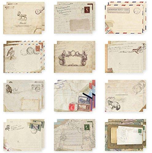 60 x Namgiy Briefumschlag, klein, bunt, Vintage, Mini-Umschlag im europäischem Stil für Geldgeschenke, Hochzeit Geburtstag, Baby, Abschluss, Weihnachtskarten, Bastelarbeiten, 9,5 x 7,2 cm