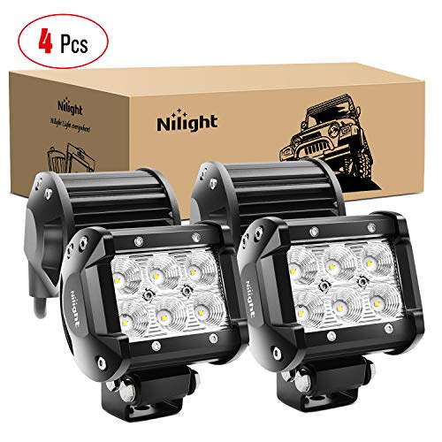 Nilight - 60001F-C LED Light Bar 4PCS 4 Inch 18W LED Bar 1260lm Flood Led Off Road Driving Lights Led Fog Lights Jeep Lighting LED Work Light for Van Camper SUV ATV ,2 Years Warranty