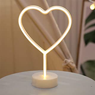LED Heart Shaped Neon Night Lights Warm White Neon Lamp USB & Battery Powered Hanging Wedding Sign Novelty Indoor Lamps Decor Birthday Party Christmas Party Kids Room Living Room Bedroom or Bar