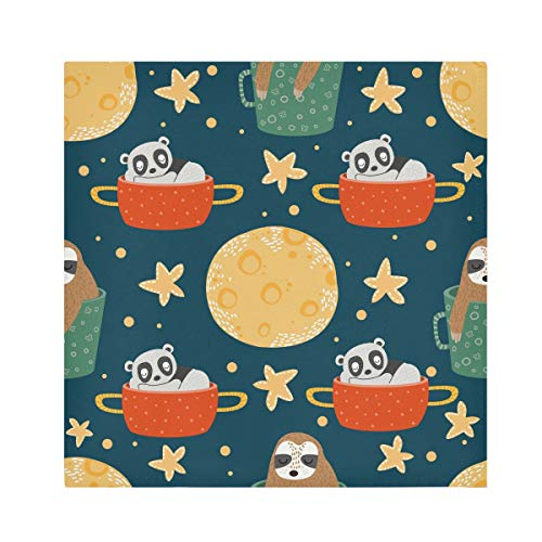 TropicalLife HaJie Napkins Universe Star Bear Sloth Animal Dinner Napkin Paper Satin Polyester Cloth Reusable Napkins for Table Kids 20x20 in, 4 Pcs