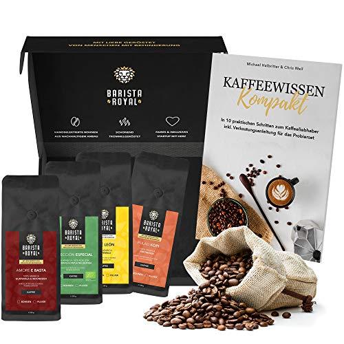 Premium Kaffeebohnen Probierset inkl. Guide | Kaffee Geschenk für Männer und Frauen | Mit Liebe geröstet von Menschen mit Behinderung | 4x250g Kaffeebohnen im Geschenkset