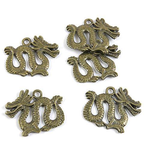 Antieke Bronzen Toon Sieraden Charms W05878 Chinese Draak Craft kunst maken Crafting Kralen Antiek brons