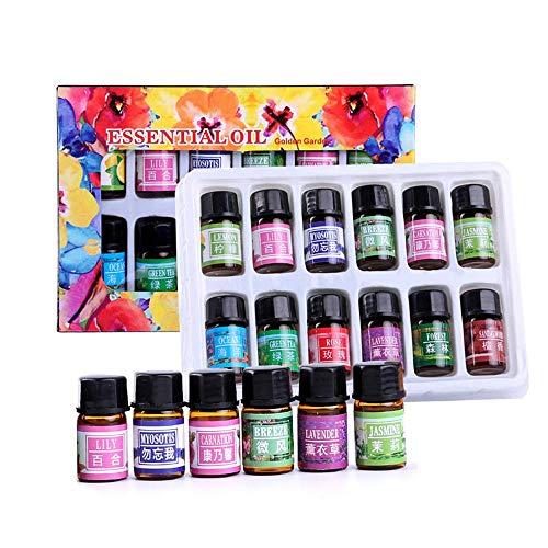AOLVO Set de aceites Esenciales para aromaterapia, Set de 12 aceites de Regalo para Espuma, Yoga, purificación, limón, Lavanda, té y Rosa