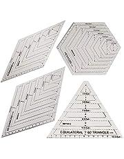 4 reglas de acolchado, plantillas de plástico hechas a mano, plantillas de forma hexagonal, retazos transparentes, regla de corte de costura