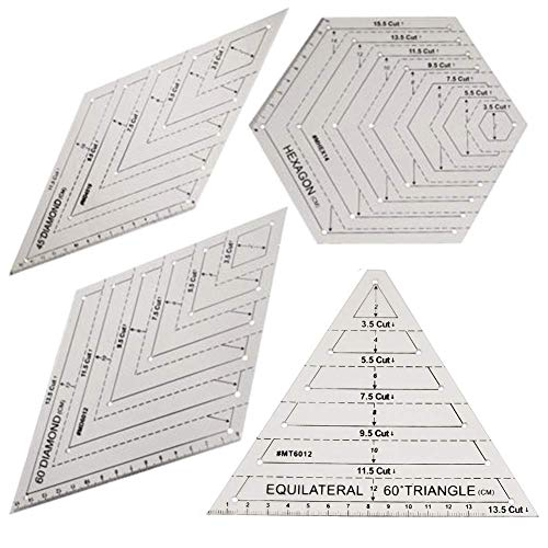 4 Stück Quilt-Lineal, Kunststoff-Vorlage, handgefertigt, Quilt-Vorlagen, sechseckige Form, transparent, Patchwork, Nähen, Schneiden, Bastel-Lineal