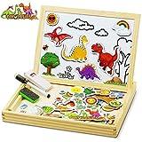 COOLJOY Bois Magnétique Puzzle en Bois, 118 Pièces Motif Dinosaure Jigsaw avec Tableau Noir de Chevalet à Double Face Jouets Educatif pour Bambin Enfants Fille 3 Ans 4 Ans 5 Ans