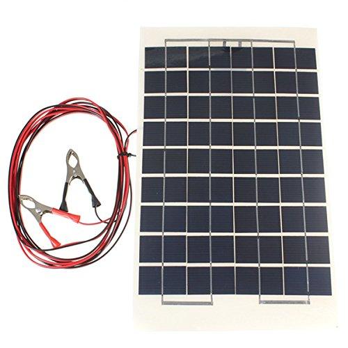Kungfu Mall - Panel Solar de Resina epoxi Transparente con Pinza de cocodrilo (12 V, 10 W, 38 x 22 cm)