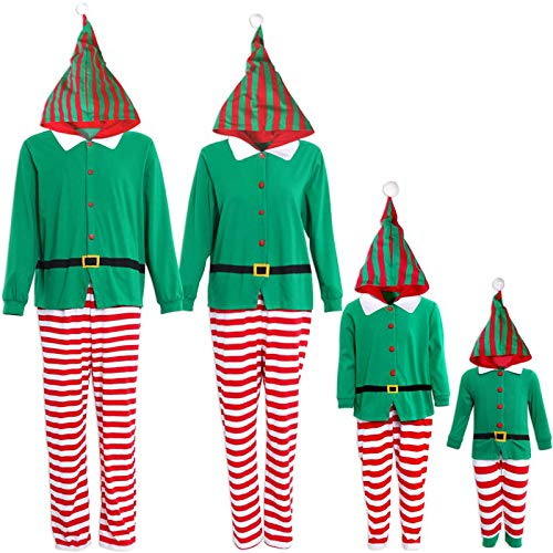 IFFEI Family Matching Christmas Pajamas Set One Piece Striped Hooded Sleepwear Santa Claus Elf Cosplay Outfit Women: S