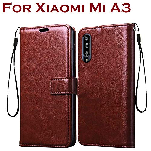 Bracevor Leather Flip Cover Case for Xiaomi Mi A3 | Foldable Stand | Wallet Card Slots | Inner TPU -...