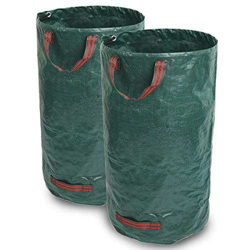 GIOVARA 2 x 500 l Gartenabfallsäcke, wasserdicht, strapazierfähig, große Müllsäcke mit Griffen, faltbar und wiederverwendbar.