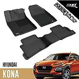3D MAXpider All-Weather Floor Mats for Hyundai Kona (Electric Model) 2019-2021 Custom Fit Car Floor Liners, Kagu Series (1st & 2nd Row, Black)