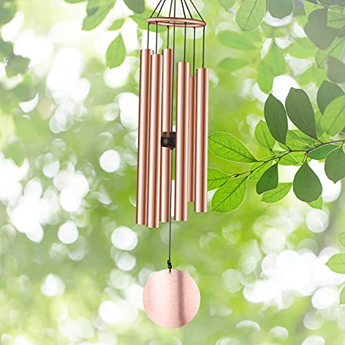 """Mainahe Wind Chimes Outdoor - 29"""" Medium Wind Chimes for Outside Deep Tone, 6 Aluminum Tubes Soothing Melody Comfort Unique Metal Wind Chime Garden Lawn Patio Home Sympathy Memorial Gift (Gold)"""