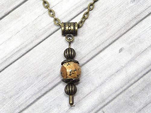 Collar con colgante de estilo vintage para mujer en jaspe marrón montado sobre una cadena de bronce antiguo