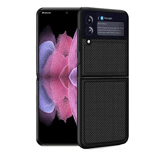 Estuches a Prueba de Golpes para PC híbridos de Cuero PU con patrón de Fibra de Carbono para Samsung Galaxy Z Flip 3 5G, Estuche Plegable antirrayas ultradelgado para Samsung Galaxy Z Flip3 5G 2021