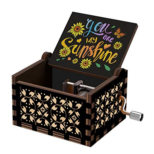 Hexagram You are My Sunshine Wood Music Box Vintage Laser Engraved Hand Crank Small Personalized Musical Box Gift Unique Gift for Birthday Mother Day Valentines Day Christmas Anniversary Black