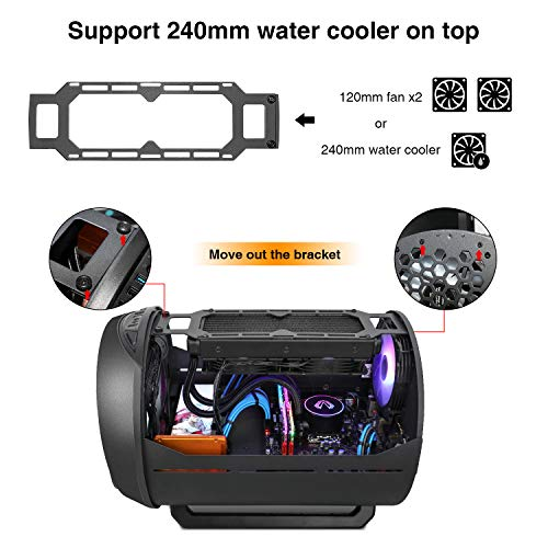 Vetroo K2 M-ATX Mid-Tower Pc Gaming Case, Pre-Installed 200mm RGB Fan, High Airflow Round Computer Case, Water Cooler Ready, Black