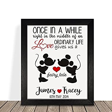 Personalized Presents Gifts For Him Her Husband Wife Couples Girlfriend Boyfriend Wedding Anniversary Valentines Day Christmas Xmas Disney Minnie Mickey Framed Prints Posters Special Gifts Idea