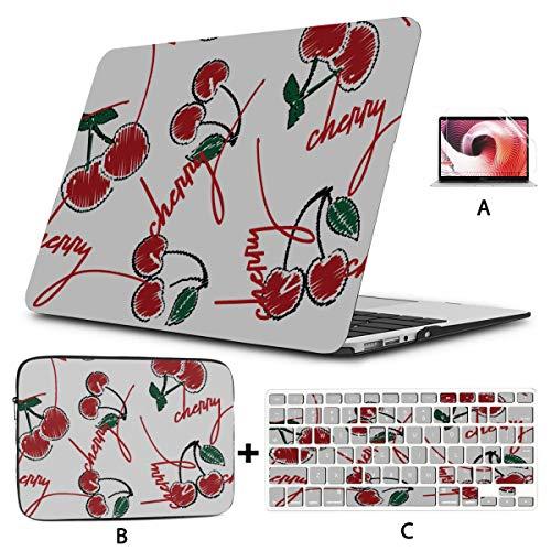 Accesorios para Mac Book Pro Cherry Art Red Green Sweet Fundas para Macbook Hard Shell Mac Air 11'/ 13' Pro 13'/ 15' / 16'con Funda para portátil para Macbook versión 2008-2020
