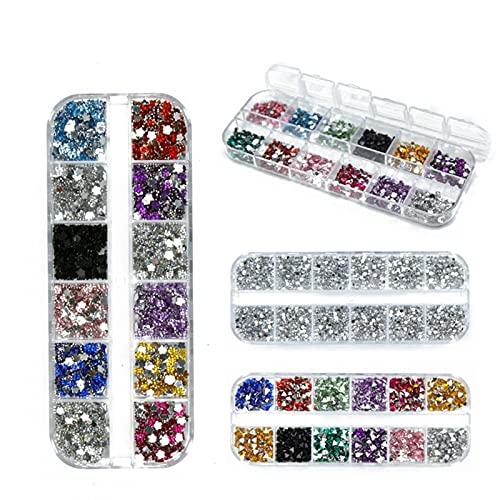 Gu3Je Pedrería de uñas, 8 Box Nail Art Rhinestones 3D Plata 2mm Mezcla Redonda Teardrop Pegatina Corazón Gems Deco Glitters Decoración de uñas Artesanía Arte De Uñas De Bricolaje (Color Show)