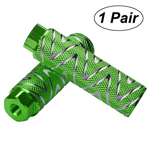 Amotor Bike Pegs, 2Pcs Aluminum Alloy Anti-Skid Lead Foot BMX Pegs Fit 3/8 inch Axles (Green)