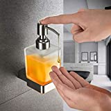 Soporte de Pared Dispensador de jabón, Vidrio Esmerilado Inoxidable Base de Acero Manual Pulse dispensador de Emulsión para la Escuela de Cocina Baño de hospital-200ML
