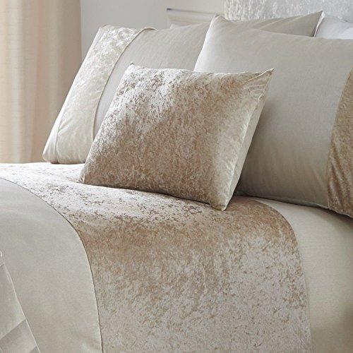Tony's Textiles Cream Boulevard Crushed Velvet Filled Boudoir Cushion (Standard)