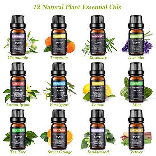 Set de aceites esenciales, 100% Puros y Naturales Aromaterapia Aceites Esenciales para Humidificador y Difusor Aroma