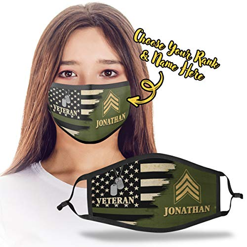 Personalized Name Army Veteran Insignia Rank United States US Military Retirement Retired Soldier Print Cloth Reusable Washable Face Mask Double Layer Masks Dust Protection for Men Women - DSVTH