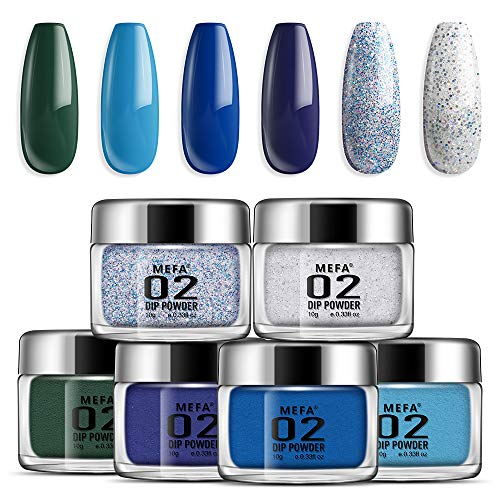 Dipping Nail Powder Colors Set - 6 Dip Powders Colors Blue Series Nails Set No Nail Lamp Needed Acrylic Dipping Powder Nail Refill Set for French Nail Manicure Nail Art