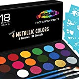 Face Paint Kit Non-Grease 18 Colors Including 4 Metallic 3 Brushes 30 Stencils Face Paints Body Paint Palette...
