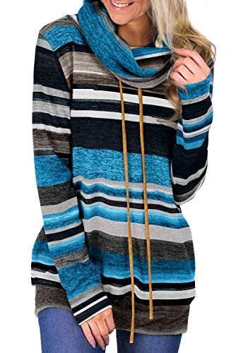 BLENCOT Felpe da Donna Shirt Manica Lunga Pullover Invernale Scollo Alto Cappotto Donna Casual a Righe con Tasca Maglione Causal Autunno, Blu Sicuro, S