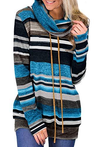 BLENCOT Maglione Donna Lungo Felpe Colorate da Donna Manica Lunga Pullover Collo ad Anello con Tasche Maglia Casual Autunno Inverno, Blu Scuro, M
