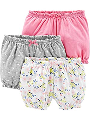 Simple Joys by Carter's Girls' 3-Pack Bloomer Short, Pink/Grey/Floral, 6-9 Months