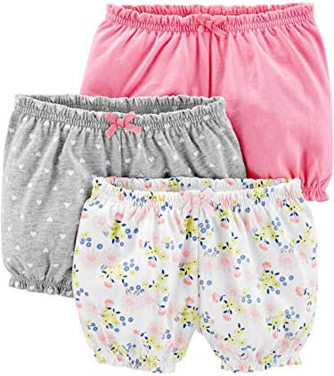 Simple Joys by Carter s Girls 3 Pack Bloomer Short Pink Grey Floral 0 3 Months product image