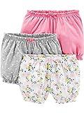 Simple Joys by Carter's Paquete de 3 pantalones cortos para bebé ,Pink/Grey/Floral ,12 Months