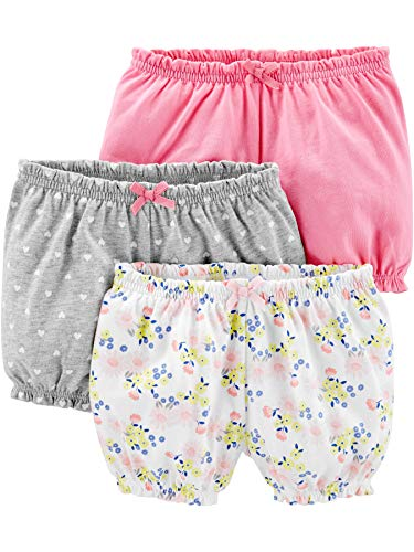 Simple Joys by Carter's Girls' 3-Pack Bloomer Short, Pink/Grey/Floral, 12 Months