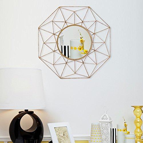 Espelho de parede decorativo de metal clássico redondo Asense coleção de casa espelho de arte de parede moderno, ouro
