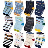 CUBACO Baby Combed Cotton Socks, 12 Pairs Soft Socks Non Skid Anti Slip Cotton Grip Socks for Toddler Infant Childrens, 6-12 Months