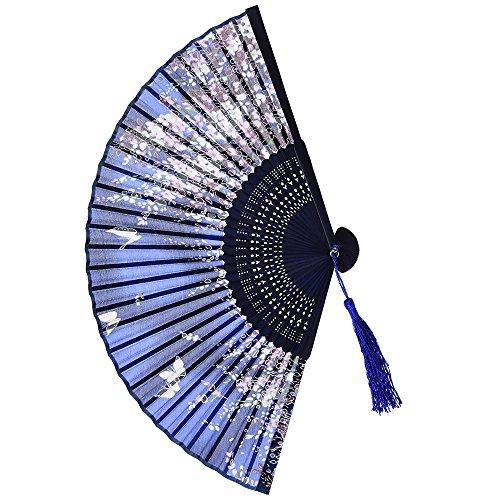 99native Handfächer, Damen Handheld Gefaltet Fan, Chinesischer Vintage Klassisch Blumen Stoff Silk Bambus Hollowed Faltfächer, für Kirche Hochzeitsgeschenk, Party Favors, DIY Dekoration (Blau)